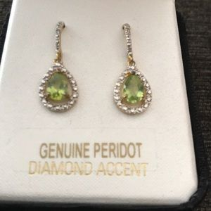 Jewelry - 18k over sterling silver peridot earrings